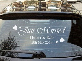 sticker just married voiture