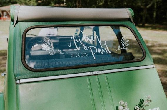 sticker autocollant voiture mariage
