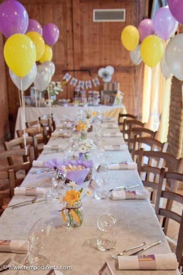 fête de première communion rustique chic violet mauve jaune