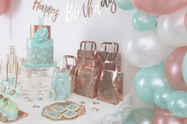 décoration rose gold mint communion confirmation