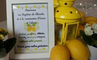 La communion d'Enora et Orlane en jaune sur le thème du citron